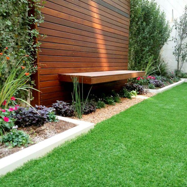 עיצוב גינה בדירת קרקע מדשאה