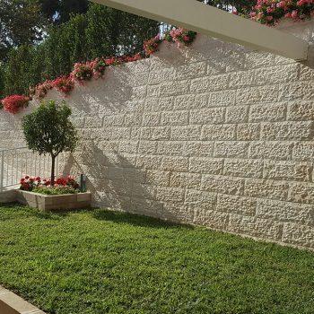 עיצוב גינה עם בריכה - חומה